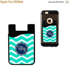 b5b5e91390cd Monogram Cell Phone Card Holder Caddy Phone Wallet - Custom Design  Monogrammed Personalized Gifts - ID Credit Card iPhone
