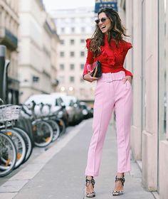 Amo esta combinação de rosa com vermelho