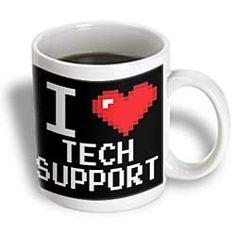 Dooni Designs Geek Designs - Geeky Old School Pixelated Pixels 8-Bit I Heart I Love Tech Support - Mugs - 15oz Mug