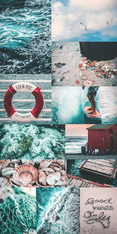 Blue aesthetic collage wallpaper ocean