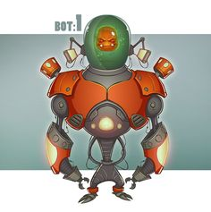 Bot by Ufuk CAN, via Behance Retro futurism space spaceship planet planets starship stars starbase spaceport age sci-fi science fiction pulp martians BEM's alien aliens ray raygun blaster phaser Game Character, Character Concept, Concept Art, Character Design, Robot Cartoon, Robots Characters, Free Hand Drawing, Futuristic Art, Robot Design