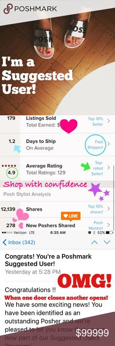 SUGGESTED USER ☺️😍🎉 5/26/17 So excited to have just been awarded SUGGESTER USER status!  I am so Thankful and Grateful for the truly  AMAZING experience I Have had so far on Poshmark. 🙏Special thanks to all my PFF's and all the lovely Poshers who have supported me and shopped with me so far 😍❤️😘 Tops