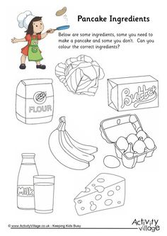 Pancake ingredients colouring worksheet. Click through to the website for the printable.
