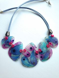 Translucent polymer clay necklace | by Mabcrea