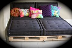 Pallet and Futons - grate family room idea.