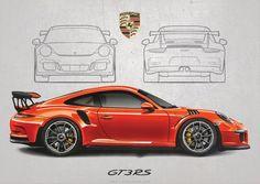 Image of Porsche 911 RS Poster Print Porsche Autos, Porsche 911 Classic, Porsche 911 Gt2 Rs, Bmw Autos, Porsche Cars, Nissan Gtr R34, Porche 911, Gt3 Rs, Car Illustration