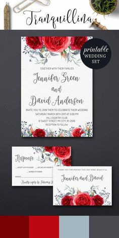 Floral Wedding Invitation DIY, Red Wedding Invitations, Watercolor Roses Wedding Invitation Romantic Boho Wedding Trends.tranquillina.etsy.com