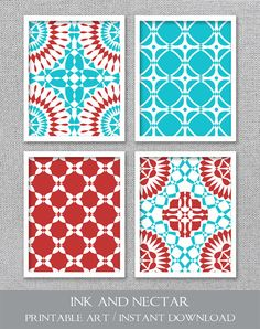 Printable Art Turquoise And Red Art Printable Art Set Printable Kitchen Art Instant Download Turquoise Wall Decor Printable Wall Art
