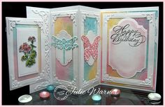 accordion fold card colored with #Copics Julie Warner for #SerendipityStamps