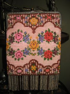 Antique Beaded Purse with Beaded Fringe