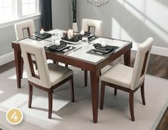 4. Streamline Your Look~ Contemporary dining rooms are simple and streamlined. This dining set fits the bill with its clean lines, tapered legs and sleek glass top.