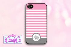 Custom phone case. Pink, gray, and white stripes with custom monogram. Available for iPhone 4, 5, 5s, + Samsung Galaxy S3. Cute phone cover!...