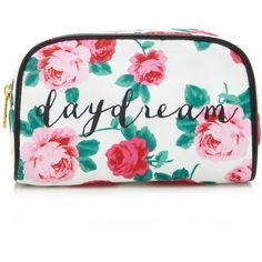Forever 21 Rose Daydream Makeup Bag ($6.90) ❤ liked on Polyvore featuring beauty products, beauty accessories, bags & cases, bags, accessories, beauty, make up bags, makeup bag, filler and travel bag