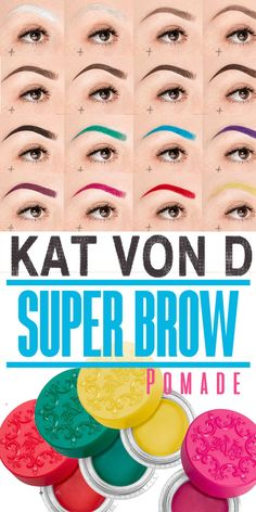 KAT VON D Super Brow Pomade | The power to craft any brow imaginable is finally a reality. 24-Hour Super Brow is your secret weapon for bold brows with a high-impact, budge-proof look. Get ready to shape, sculpt, color, and create with the boldest brow product Kat's ever created—in a spectrum of 16 ultra-pigmented shades. Waterproof, bold, 24 hours #brows #afflink #brights #eyebrows #makeupmust
