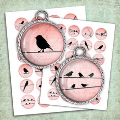 Red Bird Silhouettes Circle images Digital Collage Sheets ideal for making Resin Pendants, Glass Pendants, Bottle Caps, Magnets, Pendants.    ■