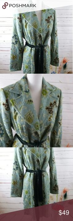 Selling this Cabi Guinevere Blue Floral Jacobean Brocade Coat on Poshmark! My username is: chippychick. #shopmycloset #poshmark #fashion #shopping #style #forsale #Cabi #Jackets & Blazers