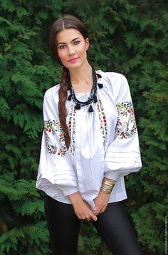 """Купить Вышитая белая блуза """"Птичий край"""" ручная вышивка - белый, вышитая блузка"""