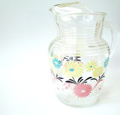 Vintage Glass Pitcher 50s Style Yellow Pink by VintagePatriotGirl, $46.50