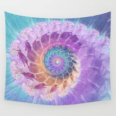 Painted Fractal Spiral in Turquoise, Purple, and Orange Wall Tapestry
