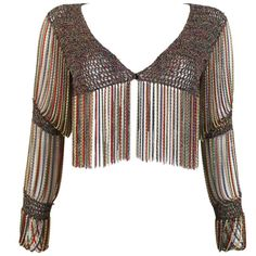 Loris Azzaro knitted cropped cardigan with chain mail sleeves and trim, c. 1970s 1