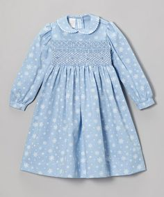 This Sky Blue Snowflake Smocked Dress - Infant, Toddler & Girls by Vive La Fête is perfect! #zulilyfinds