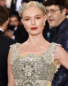 Kate Bosworth's terracotta lip and sherbet orange shadow combo at the 2016 Met Gala