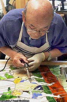 "Aanraku, stained glass studio in San Mateo. Profiled is ""Grandpa,'' Yoshinori Yakao a 79-year-old Japanese cook and swordsman,who started ta..."