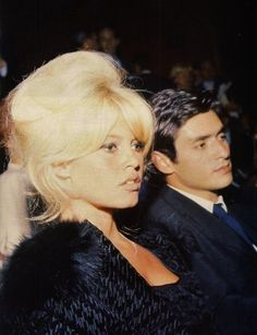 Brigitte Bardot with sami frey. Nice retro hairstyle!