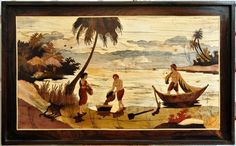 Marquetry wood inlay artwork from India depicting a coastal scenery