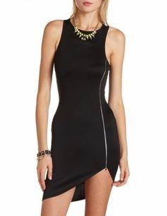 Side-zip scuba body-con dress