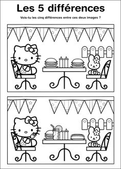 Coloriage jeux a imprimer Unterschied hello kitty imprimer Kindergarten Colors, Kindergarten Activities, Book Activities, Puzzles For Kids, Worksheets For Kids, Find The Difference Pictures, Maze Worksheet, Hello Kitty, Barbie Coloring Pages