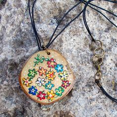 Hand painted wooden necklace Olive tree wood jewelry Flower