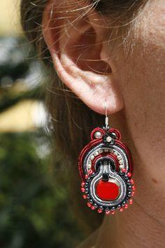 red soutache earrings, soutache earrings, black-red earrings, soutache jewelry, gray-red earrings, beaded black earrings, bridesmaid earrings