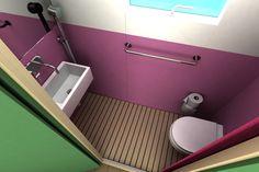 tiny bathroom (half bath) with pocket door to save space