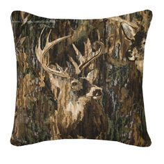 Browning Whitetails Square Pillow- Camouflage Bedding- Cabin & Hunting Decor