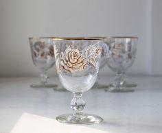 Vintage 1950s wine/water glasses.  Libbey Rock Sharpe in rose bouquet