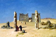 Ernst Karl Eugen Koerner (German, 1846-1927) - The Temple of Wadi es-Sebua, Nubia , 1909