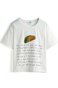 White Short Sleeve Letters Food Embroidered T-Shirt - Beautifulhalo.com
