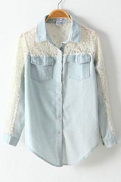 Blue denim shirt with lace details