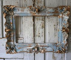 Distressed wood gesso picture frame shabby cottage chic blue white chippy gold accent ornate detailed wall hanging decor anita spero design