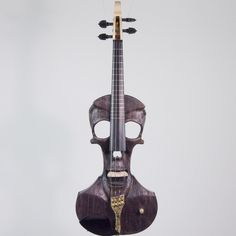 Stratton Skull Standard Fretted Electric Violin, Dark Driftwood