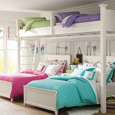 Bunk bed designs for girls loft bed girls rooms girls bedroom ideas loft bed with excellent Cute Girls Bedrooms, Girls Bunk Beds, Bunk Bed Rooms, Awesome Bedrooms, Cool Rooms, Loft Beds, 4 Bunk Beds, Triple Bunk Beds, Twin Beds