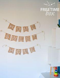 Tuto DIY : réaliser une guirlande HOME SWEET HOME en toile de jute