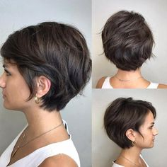 Cute Textured Brunette Pixie Bob - New Hair Styles Bob Haircuts For Women, Short Bob Haircuts, Short Hairstyles For Women, Short Hair For Women, Long Short Hair, Haircut Short, Woman Short Hair Cuts, Ladies Hairstyles, Everyday Hairstyles