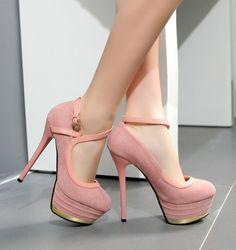 New Sexy Pink Women's Fashion Suede Platform Pump Night Club High Heel