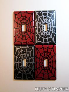 Spider Webbing Light Switch Plate Red and Black by DeeplyDapper Superhero Room, Man Room, Light Switch Plates, Dream Rooms, Kids Bedroom, Bedroom Decor, Bedroom Ideas, Marquis, Spiderman