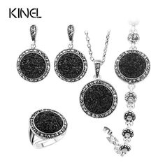 Hot 4pcs Black Broken Stone Wedding Jewelry Sets Earrings For Women Unique Bohemia Silver Plated Jewelry Engagement RingRing