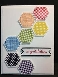 Six Sided Sampler Congratulations Card Stampin' Up! Rubber Stamping Handmade Cards Hexagon card