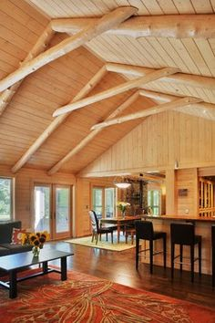 Dexter Log Home Addition and Remodel traditional family room Pella Windows, Traditional Family Rooms, Pine Walls, Chalet Style, Family Room Design, Home Additions, Cabin Plans, Home Ownership, Cool Rooms