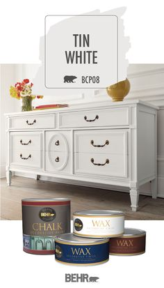 old furniture Give old furniture a new style with a little help from Behr Chalk Style Paint in Tin White. Just take this upcycled dresser for example. Vintage-style metal hardware and go Chalk Paint Furniture, Furniture Projects, Furniture Making, Diy Furniture, White Paint For Furniture, Furniture Stores, Luxury Furniture, Furniture Design, Furniture Dolly